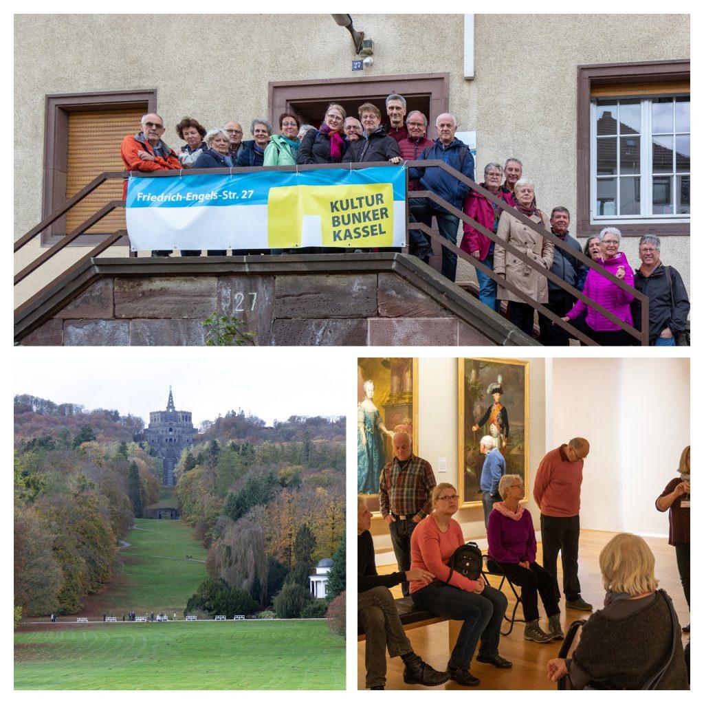 Die Gruppe vor dem Reisbahnbunker und in der Gemäldegalerie auf Schloss Wilhelmshöhe